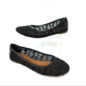 Lucky Brand Black Lace Flats 7.5